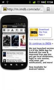 IMDB mobile app ad